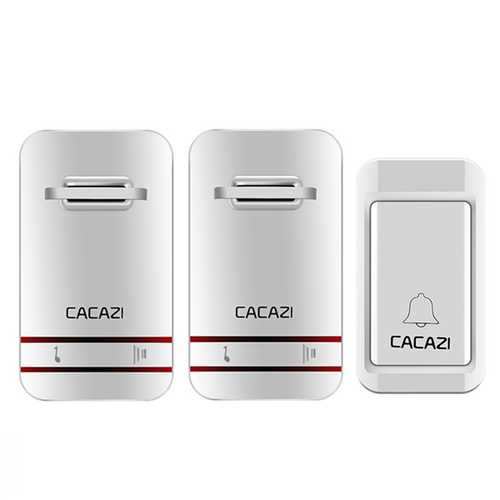 CACAZI 2 to 1 Wireless Doorbell No Need Battery LED Light Doorbell Waterproof Electronic Door Bell