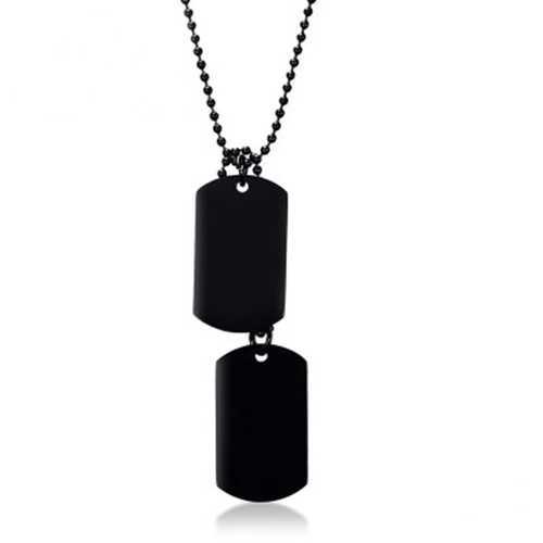 Stainless Steel Hangtag Pendant Black Plating Men Necklace