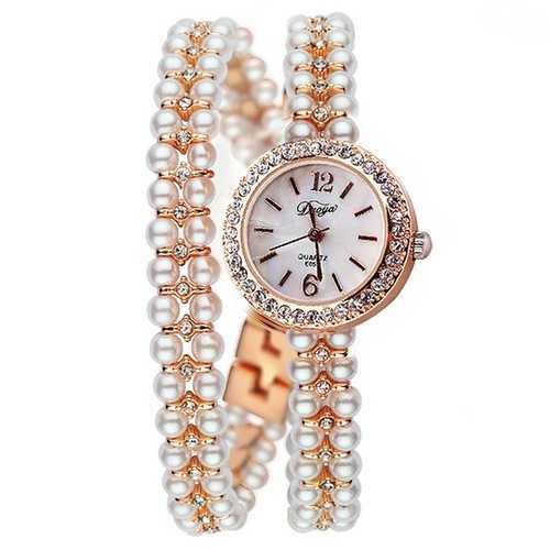 DUOYA XR1304 Pearls Ultra Thin Strap Bracelet Watch