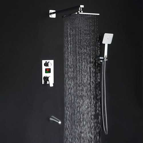 KCASA KC-S100 LED Digital Display Wall Mount Bathroom Rain Mixer Shower Set Three Ways Shower System with Luxury Rainfall Shower Head Handheld Shower and Tub Spout Faucet