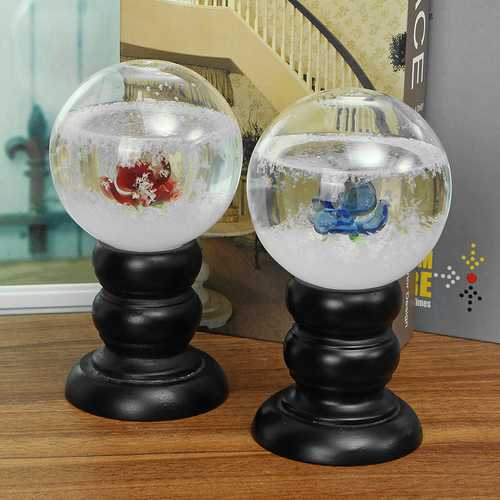 Crystal Ball Weather Forecast Storm Bottle Wood Glass Base Home Decoration For Kids Childrens Gift