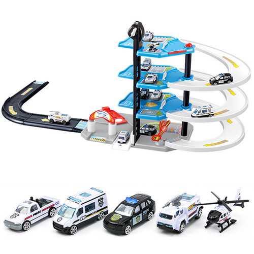 DIY Track Car Racing Orbit 3D Model Assembling Firetruck Policeman Parking Building Blocks Toys Gift