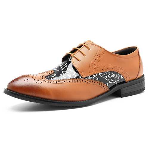 Men Brogue Style Leather Pointed Toe Business Shoes