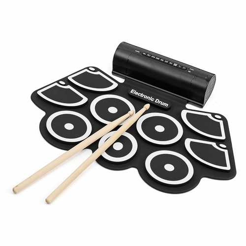 KONIX MD760L Portable USB 9 Pads Roll Up Electronic Drum with Built-in Battery Drum Sticks