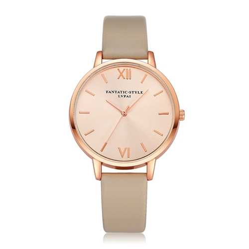 Casual Style PU Leather Strap Ladies Watch