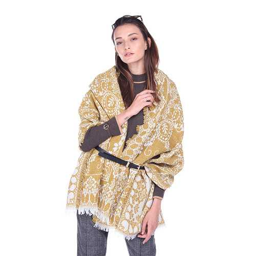 Winter Ethnic Floral Print Scarves With Tassels For Women