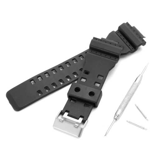 Replacement 16mm Rubber Black Watch Band for CASIO GA-100 G-Shock GA-120/300 With Buckle Repair Tool