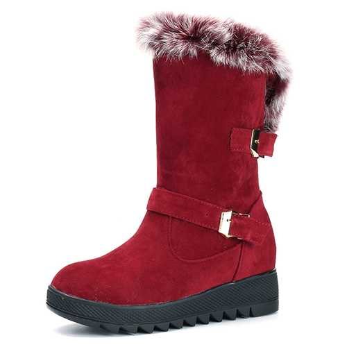 Women Artificial Fur Lining Snow Boots