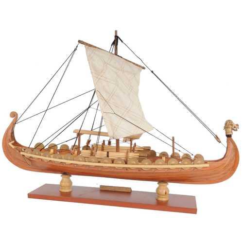 Drakkar Dragon Viking Sailboat Assembly Model Kit Laser Cutting Process DIY Toy