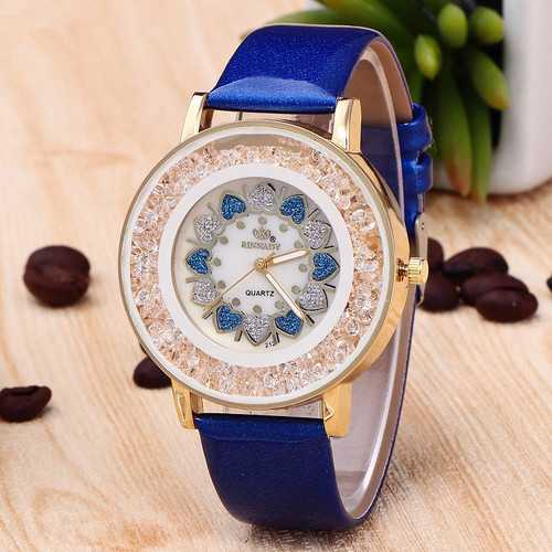 Crystal Shining Dress Rose Gold Case Leather Ladies Watch