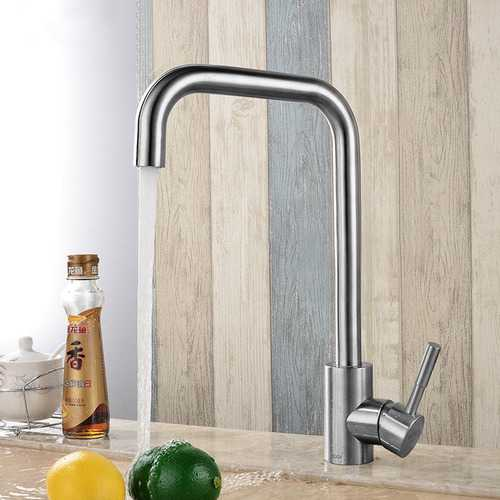 KCASA KC-303 Stainless Steel Kitchen Sink Faucet Single Handle Rotation Spout Deck Cold and Hot Water Mixer Tap