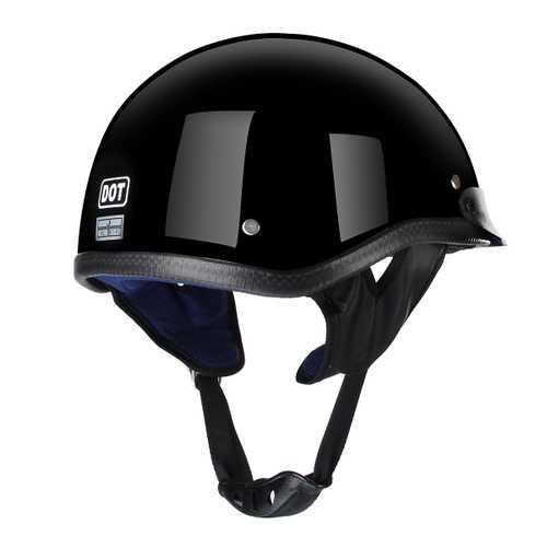 DOT Half Face Helmet Motorcycle Unisex German Style Scooter Bike Black M L XL