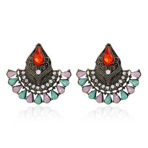 1Pair Bohemian Crystal Rhinestones Water Drop Retro Earrings