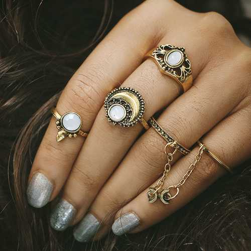 Women's 5 Pcs Vintage Ring Set Gold Silver Moon Opal Gem