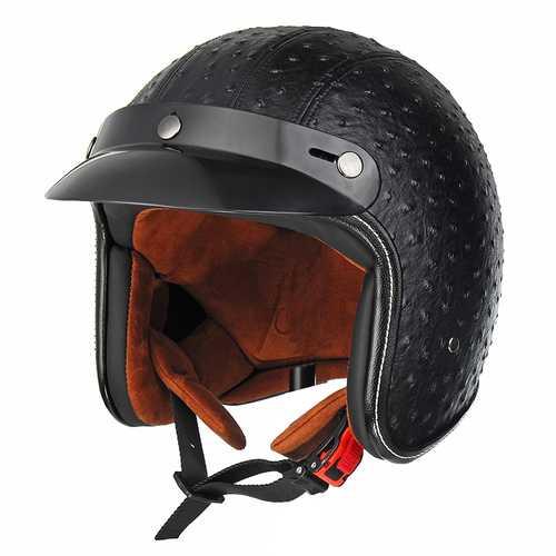 Open Face 3/4 Motorcycle Helmet Retro Vintage PU Leather Adult Black Brown
