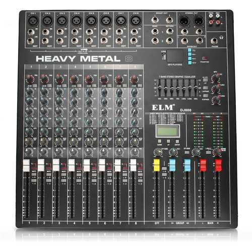 EL M DJ800 48V DC 8 Channel Professional Power Karaoke KTV DJ Mixer With DSP Effect Console