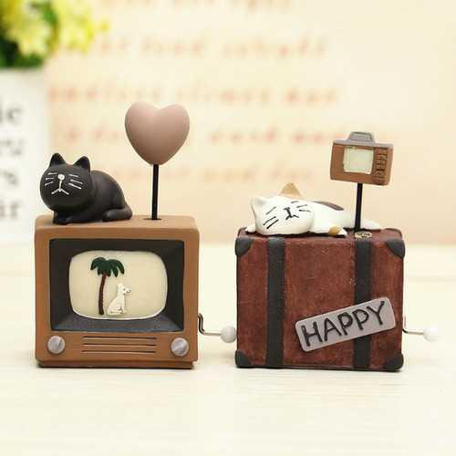 Handmade Cats Music Box Kids Toy Musical Education Toys Home Decor Ornament
