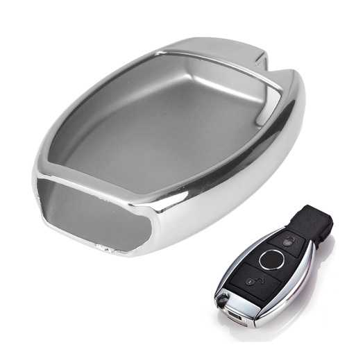 Silver TPU Soft Remote Smart Key Fob Holder Cover Fit for Benz C E S M GLK Class