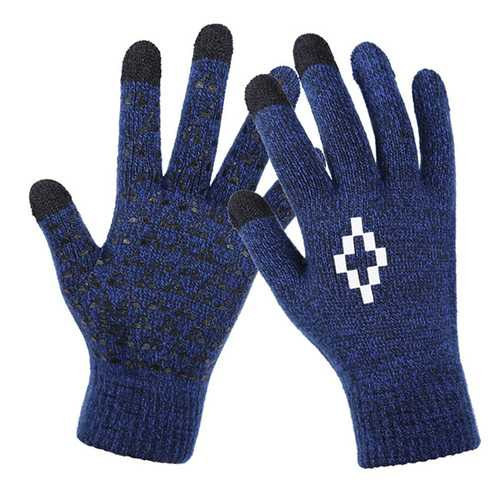 Men Fleece Thicken Touch Screen Gloves For Cycling Texting