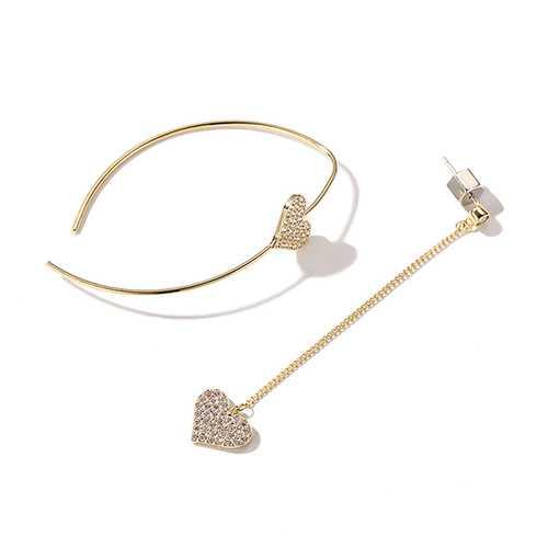 Dazzling Asymmetric Heart Earring Sterling Silver Gold