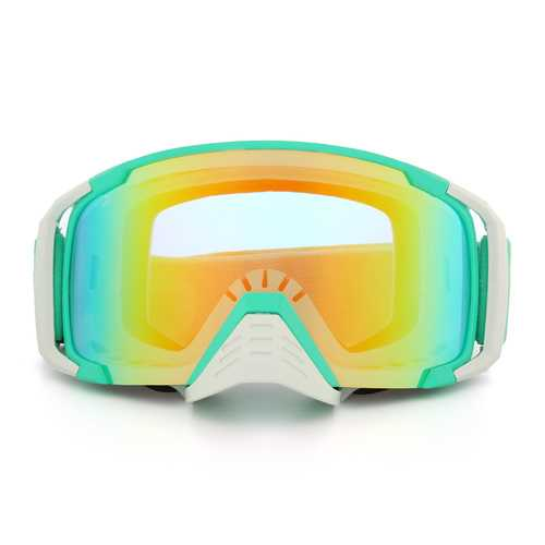 Motorcycle Anti Fog Dumb Goggles Snowmobike SKI Lens Spherical green Frame