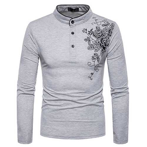 Casual Henry Collar Long Sleeved Tops Tees