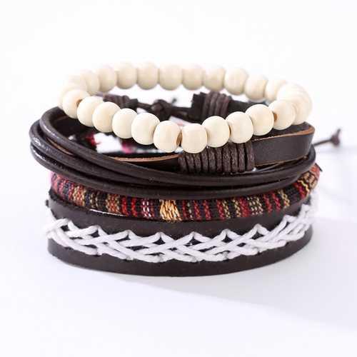 Punk Braided Leather Bracelet Adjustable Beaded Bracelet