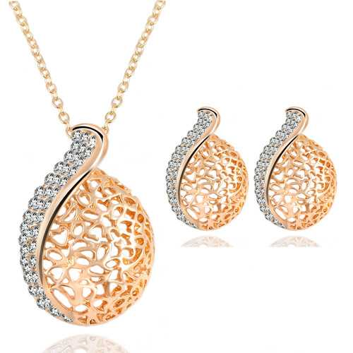 Crystal Rhinestone Hollow Water Drops Necklace Earrings Sets