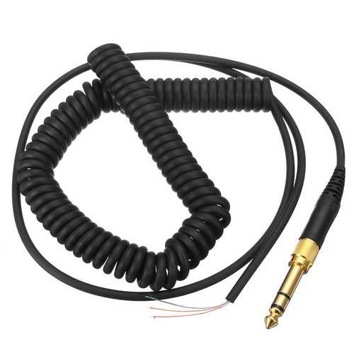 Black Stretchable Headphone Spring Wire 3.5mm Cable for Headset Beyerdynamic DT 770 990