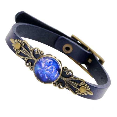 Unisex Twelve Constellations Leather Adjustable Bracelet
