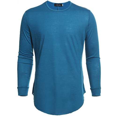 Irregular Hem Round Collar Pure Color Long Sleeved T-shirt