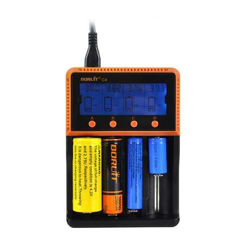 BORUiT C4 4 Slot Universal 18650 LCD Display AA AAA Li ion Rechargeable Battery Digital  Charger