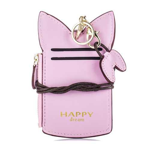 Cute Cartoon Pure Color Card Holder Coin Purse For Women