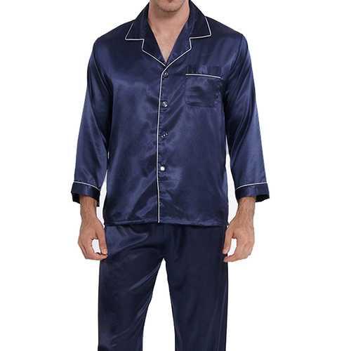 Mens Faux Silk  Pajamas Thin Pure Color V neck Sleepwear Set