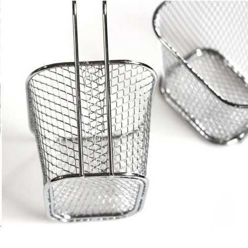 Honana HN-KT035 Electroplate Stainless Steel Mini Frying Basket Mesh Basket Strainer