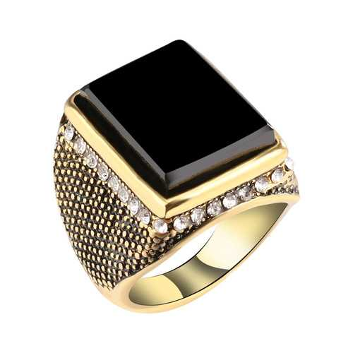 Hip Hop Resin Geometry Rhinestone Ancient Gold Ring for Men