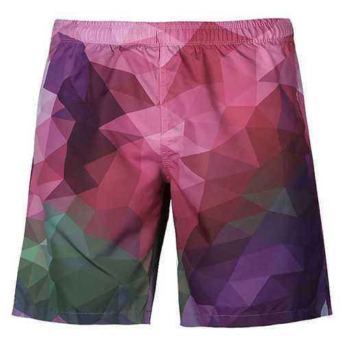 Colorful Plaid Printing Quick Dry Beach Holiday Board Shorts