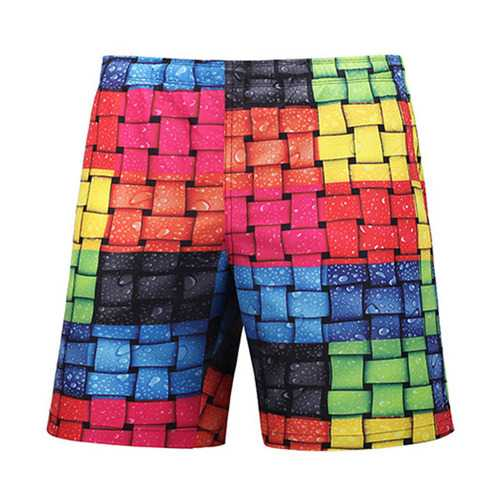 3D Weaving Plaid Printing Rainbow Colorful Holiday Shorts