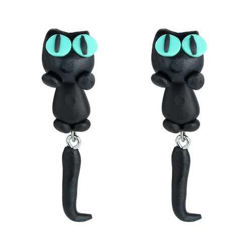 Cute Animal Black Cat Stud Little Kitty Soft Clay Earrings