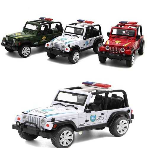 1/32 Alloy Police Car Model With Light Sound Toys For Kids Children Educational Gift