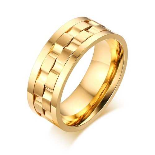Golden Gear Ring Rotatable Silver Color Stainless Steel Ring