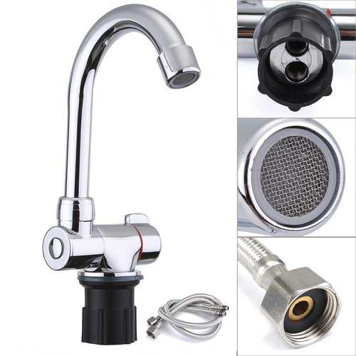 360 Degree Kitchen Sink Rotating Tap Hot & Cold Water Foldable Faucet Set Soft Pipes