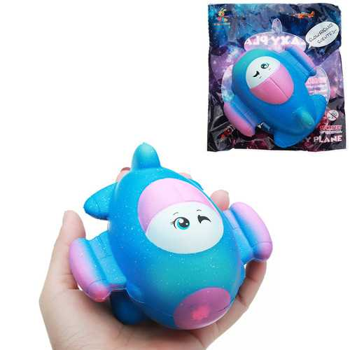 Taburasa 12CM Cute Galaxy Airplane Plane Squishy Slow Rising Squeeze Toy Kids Gift With Packaging
