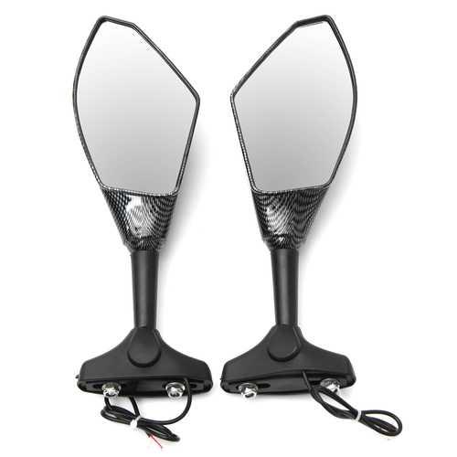 Motorcycle LED Turn Signal Rear View Mirrors Carbon Fiber For Honda/Suzuki/Kawasaki/Yamaha