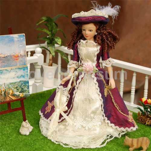 1/12 Doll house Miniature Porcelain Dolls Classical Victorian Lady w/ Hat Action Figure
