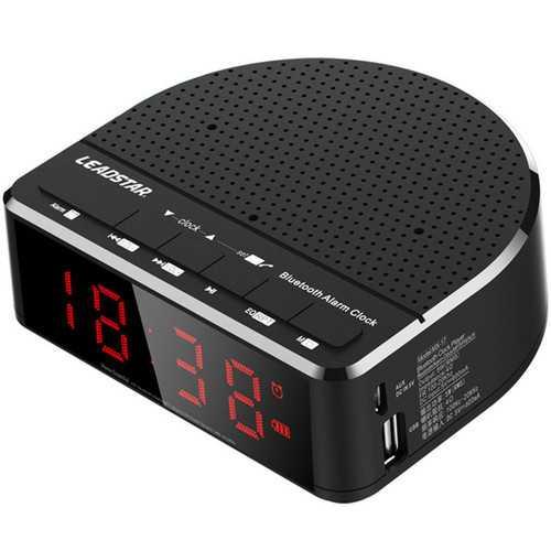 LEADSTAR MX-17 Portable Wireless bluetooth Speaker LED Alarm Clock TF Card FM Radio Subwoofer