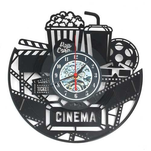 "12"" 12 Inch 3D Black Popcorn Wall Clock Theater Movie Cinema Snack Bar Clocks Home Decor"