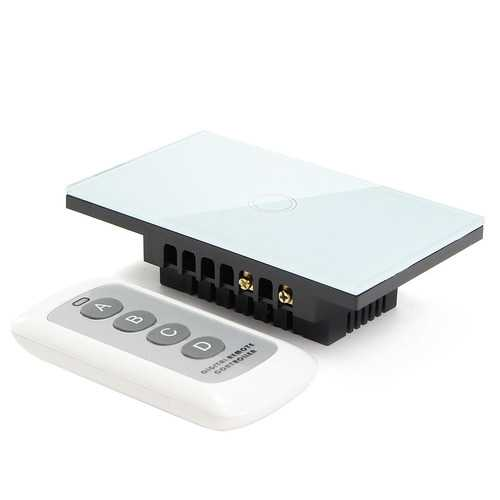 1 Way 1 Gang Crystal Glass Remote Panel Touch LED Light Switch Controller With Remote Control