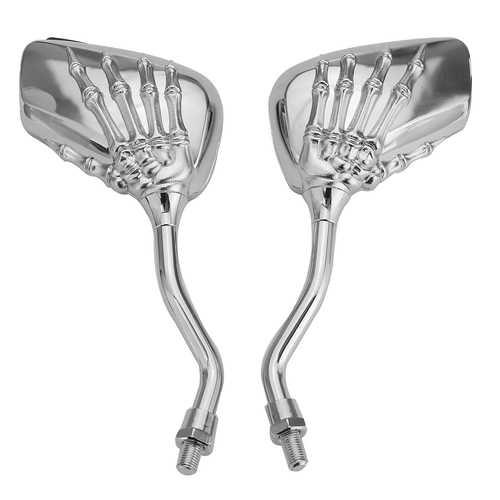 Pair 8mm Motorcycle Mirror Skull Bone Skeleton Hand Universal Chrome/Black