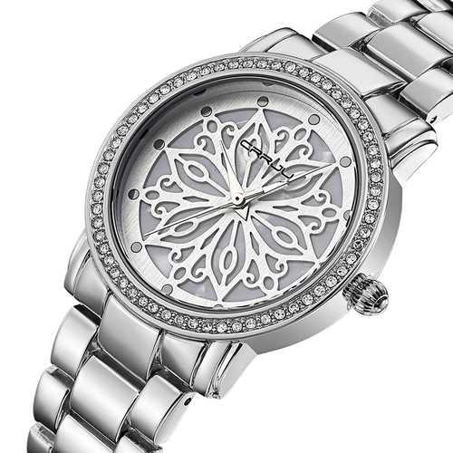 CRRJU 2109 Diamonds Dial Case Women Wrist Watch
